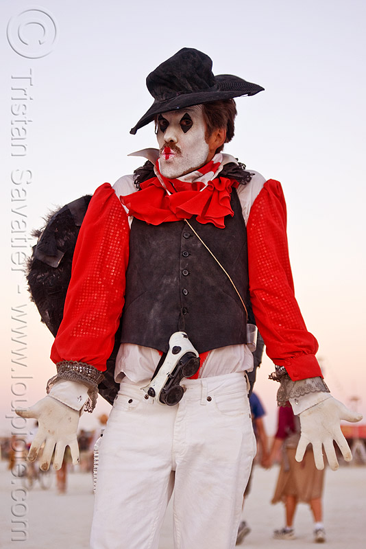 mime costume, burning man, face painting, facepaint, hat, makeup, people, white face paint, white face painting, white makeup