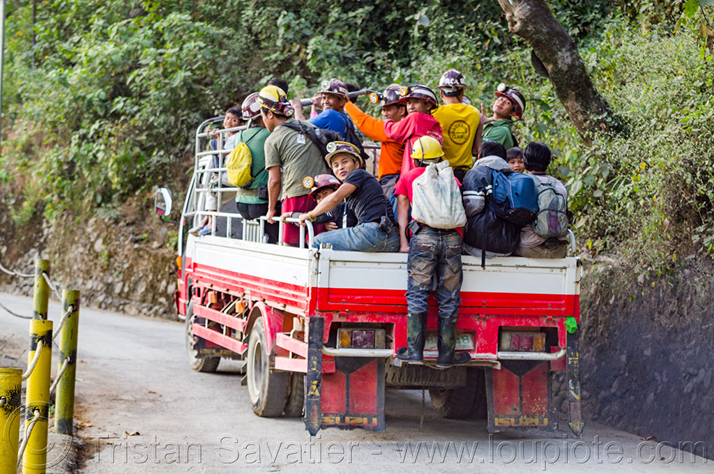 mine workers in truck (philippines), balatoc mines, gold mine, men, miners, philippines, road, truck, workers