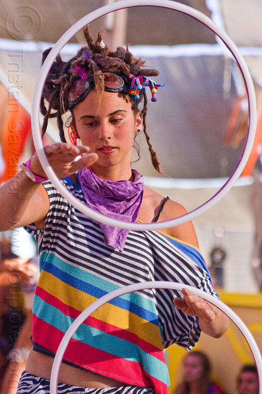 mini hoops, bandana, burning man, center camp, dreadlocks, dreads, erika, goggles, hooping, mini hoops, stripes