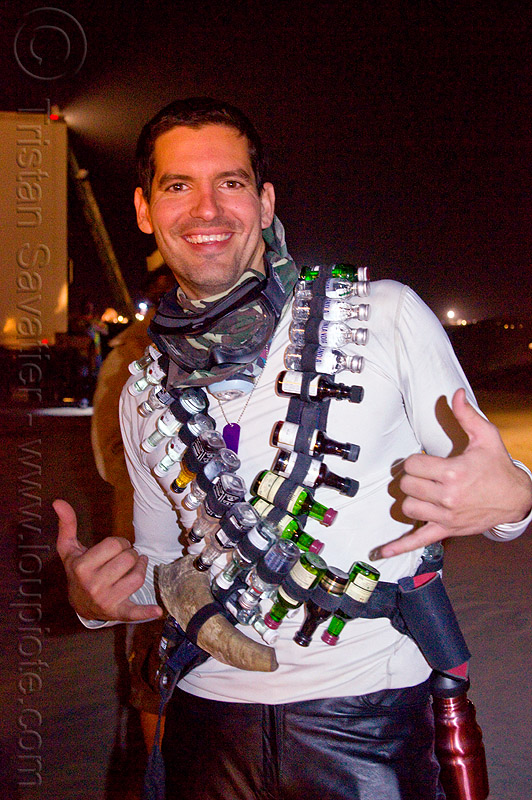 miniature liquor bottles belts costume - burning man 2012, alcohol, barman, night, people