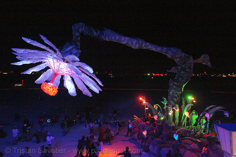 miracle grow aka hope flower - burning-man 2006, abundant sugar, art car, burning man, dolab, giant flower, hope flower, miracle grow, night, patrick shearn