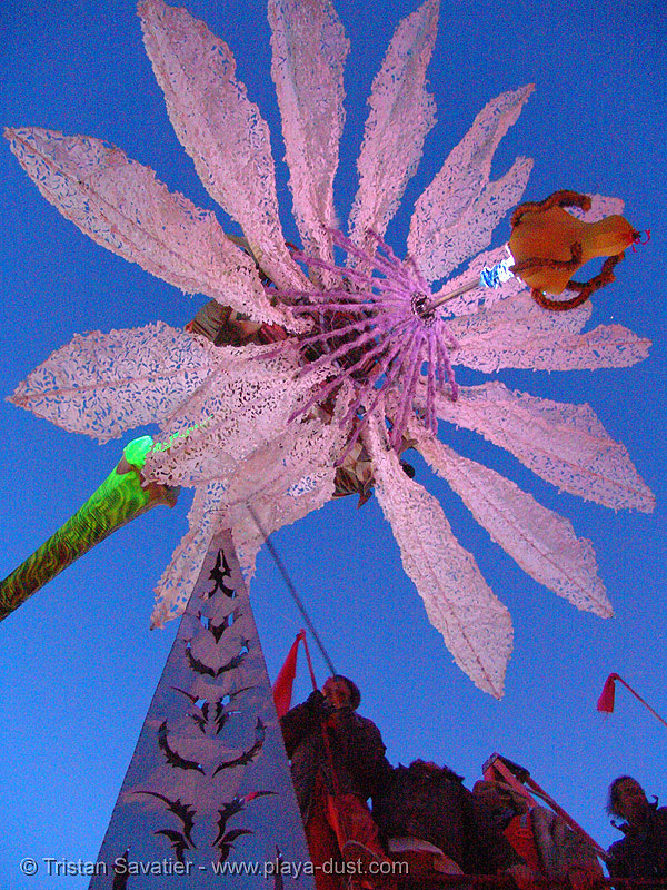 miracle grow by patrick shearn and al - burning-man 2005, abundant sugar, angel, angel of the apocalypse, art, art car, burning man, dolab, flaming lotus girls, flower, giant, giant flower, hope flower