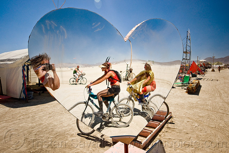 mirror heart, burning man, heart shape, mirror