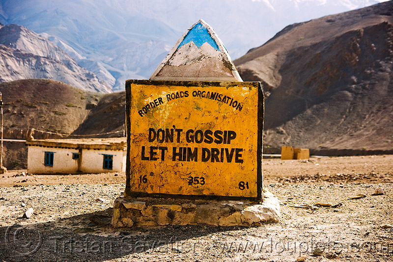 misogyny - don't gossip, let him drive - misogynist road sign in ladakh (india), border roads organisation, bro, gossip, ladakh, misogynist, misogyny, mountains, road marker, road sign, traffic sign