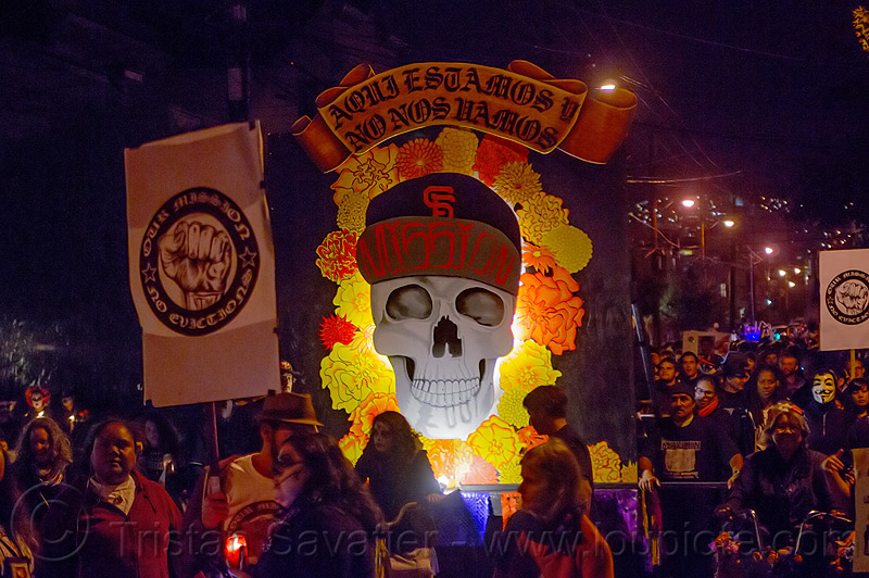 mission skull - dia de los muertos (san francisco), day of the dead, decorated skull, dia de los muertos, float, flowers, halloween, marigold, night, procession