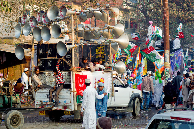 mobile sound truck - eid-milad-un-nabi muslim festival (india), bullhorns, crowd, eid-e-milad, eid-e-milad-un-nabi, eid-e-milād-un-nabī, islam, loud speakers, mawlid, men, milad un-nabi, milad-an-nabi, milād an-nabī, milād un-nabī, mohammed's birthday, muhammad's birthday, muslim parade, muslims, nabi day, people, pickup truck, prophet's birthday, religion, street, عید میلاد النبی, میلاد النبی, ईद मिलाद, ईद मिलाद नबी, मिलाद नबी