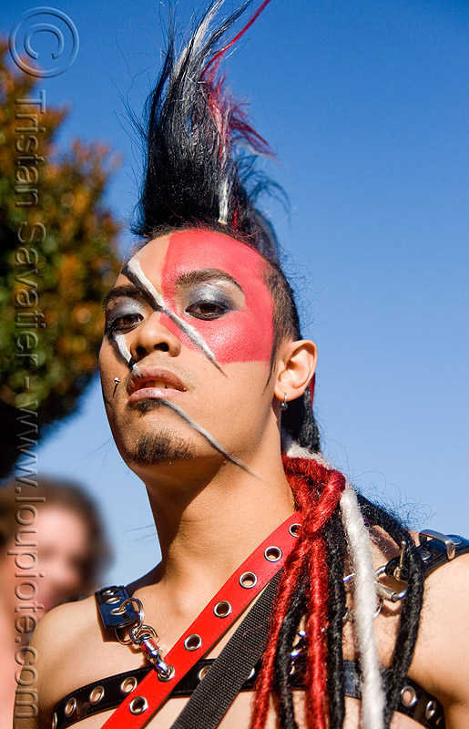 mohawh and face paint - folsom street fair 2008 (san francisco), angel boy, dreadfalls, face painting, facepaint, folsom street fair, john, makeup, man, mohawk hair