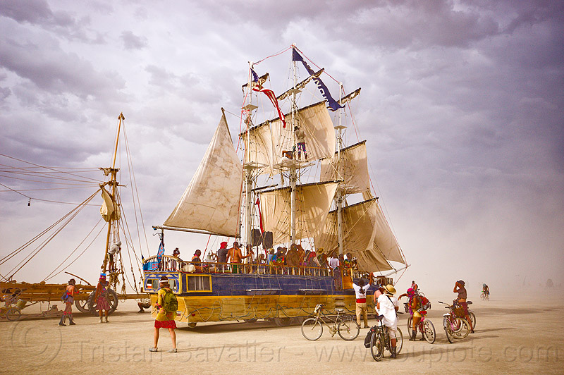 monaco art ship - burning man 2012, art cars, art ship monaco, astrakan, boats, burning man, dust storm, haboob, sail, sailing, ships, tall ship, whiteout, wind, windwagon
