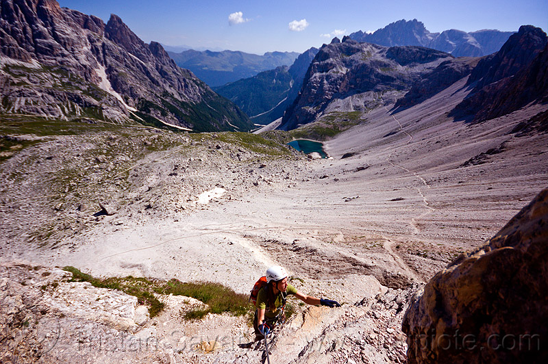 monte paterno via ferrata, alps, climber, climbing, climbing harness, climbing helmet, dolomites, dolomiti, mountain climbing, mountaineer, mountaineering, mountains, parco naturale dolomiti di sesto, people, rock climbing, tail, woman