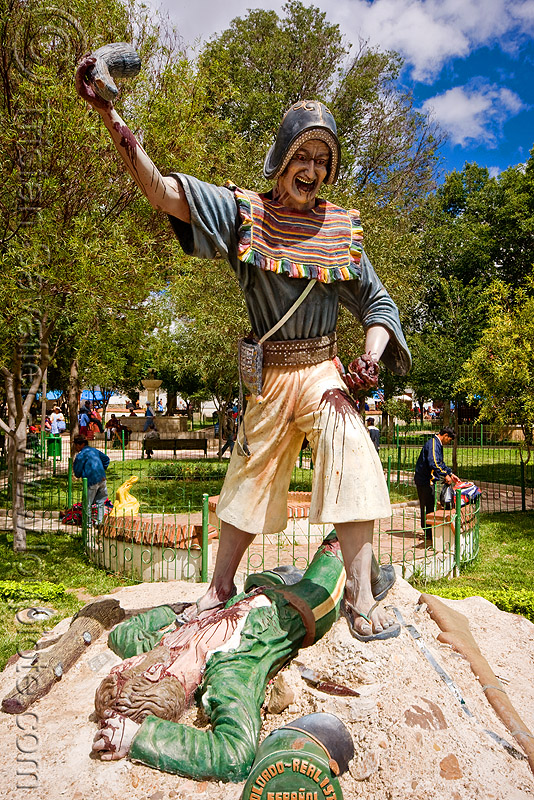 monument to the victory of indigenous quechua warriors over the spaniards - tarabuco (bolivia), blood, bloody, dead, hat, heart, killing, men, montero, montero hat, people, sculpture, soldier, statue, warrior