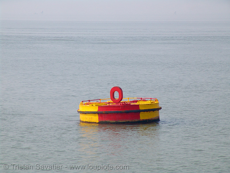 mooring buoy, buoy, cat ha, mooring, red, vietnam, yellow