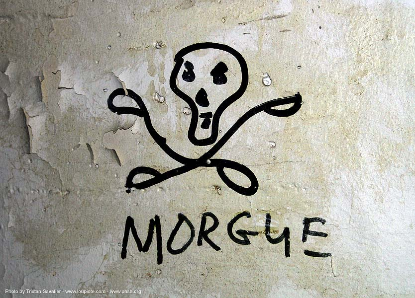 morgue - tag - skull - abandoned hospital (presidio, san francisco) - phsh, abandoned building, abandoned hospital, decay, graffiti, presidio hospital, presidio landmark apartments, trespassing
