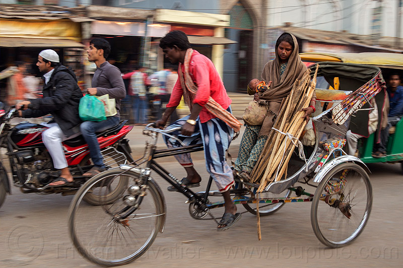 mother and baby on cycle rickshaw (india), baby, child, cycle rickshaw, kid, man, mother, moving, street, varanasi, woman