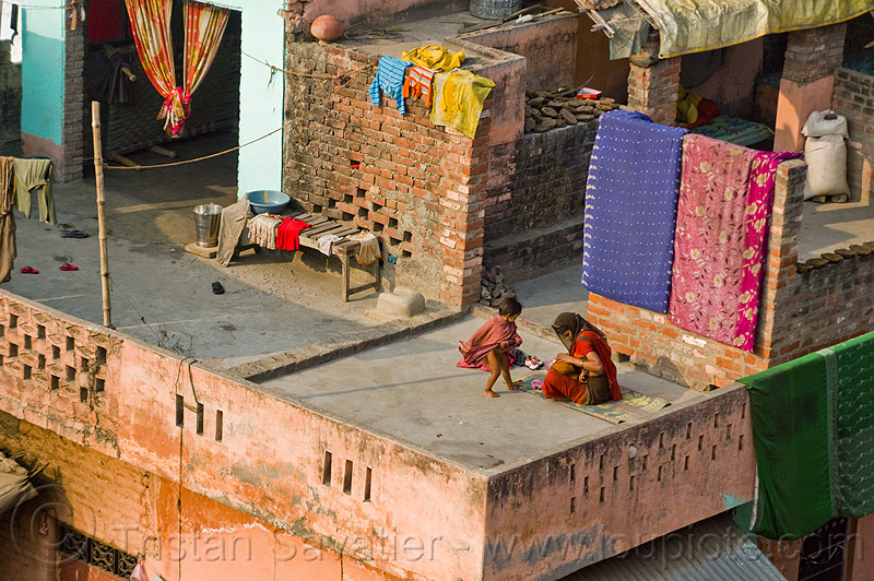 mother and children on house terrace (india), brick house, building, children, india, kids, mother, woman