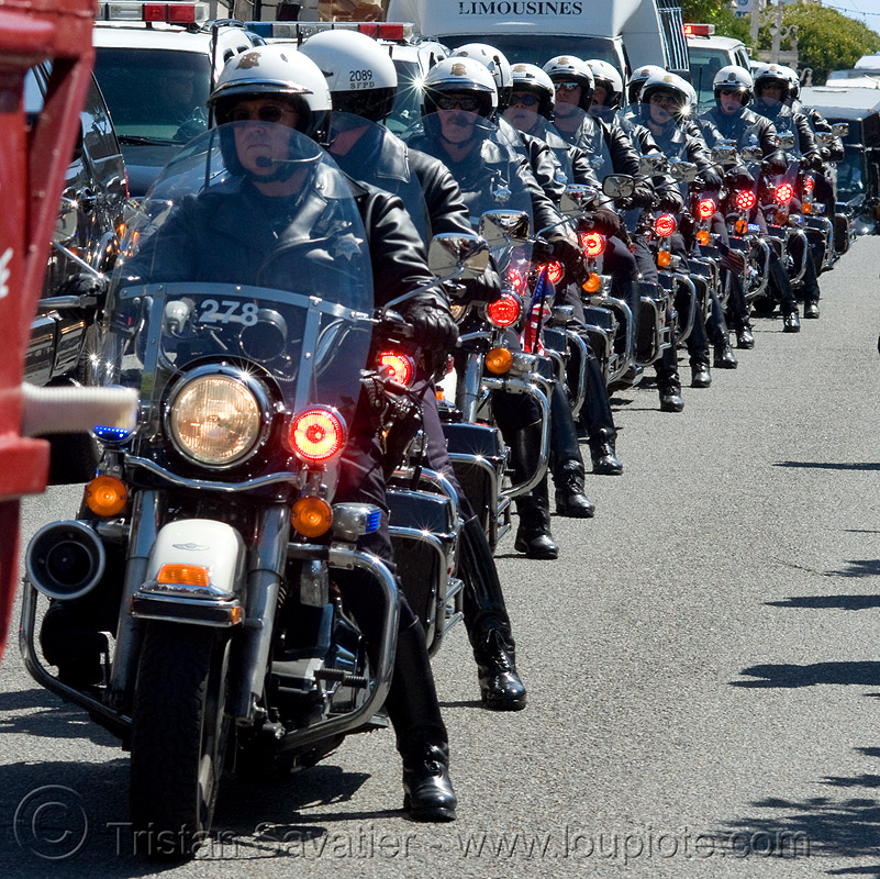 motorcycle police (san francisco), aligned, cops, crowd, harley-davidson, law enforcement, lined-up, motor cop, motor officer, motorbikes, motorcycle unit, motorcycles, police officers, police uniforms, san francisco police department, sfpd, street