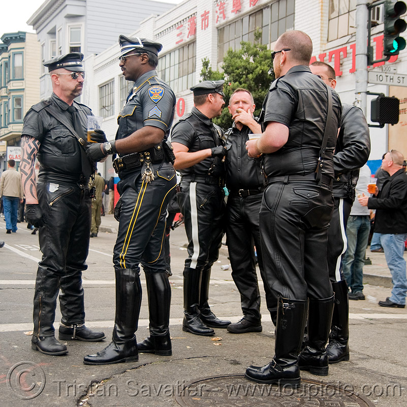 motorcycle police uniforms - leather uniforms, belt, black, boots, costumes, dore alley fair, leather jackets, leather pants, men, police uniforms, uniform