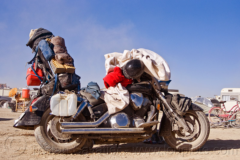 motorcycle ready for the long trip back home - honda VTX 1800 R - burning man 2010, 1800cc, burning man, honda vtx, motorbike touring, motorcycle touring, vtx 1800, vtx1800r