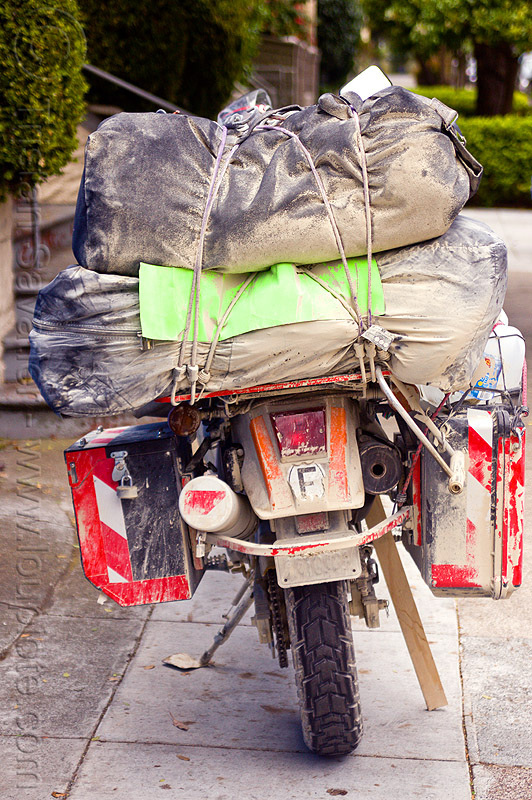 motorcycle with luggage - KLR 650, bags, dirty, dual-sport, duffle bags, dust, luggage rack, luggages, motorbike, motorbike touring, motorcycle touring, pannier bags, pannier cases, panniers, playa dust, rear