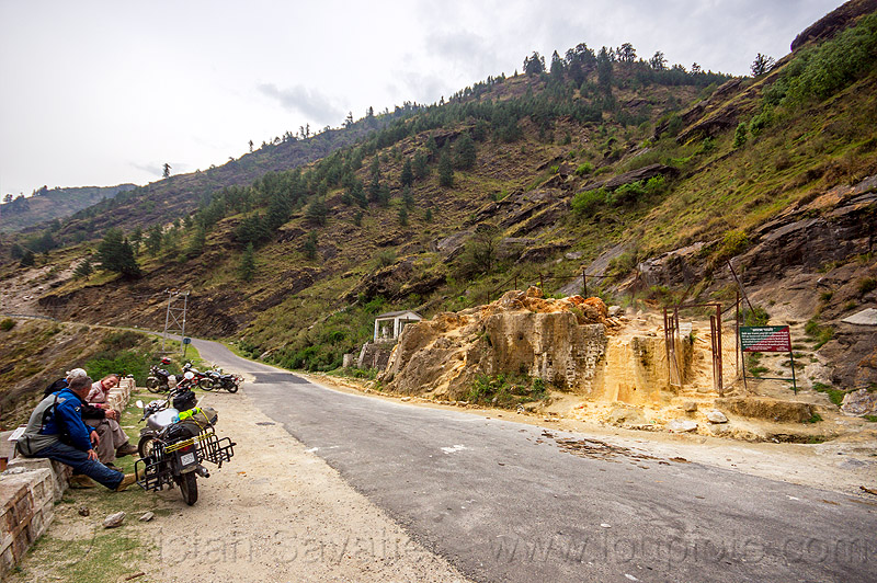 motorcyclists at the tapovan hot springs (india), dhauliganga valley, india, motorcycle touring, motorcycles, mountains, road, royal enfield bullet, sulfurous hot springs, tapovan hot springs