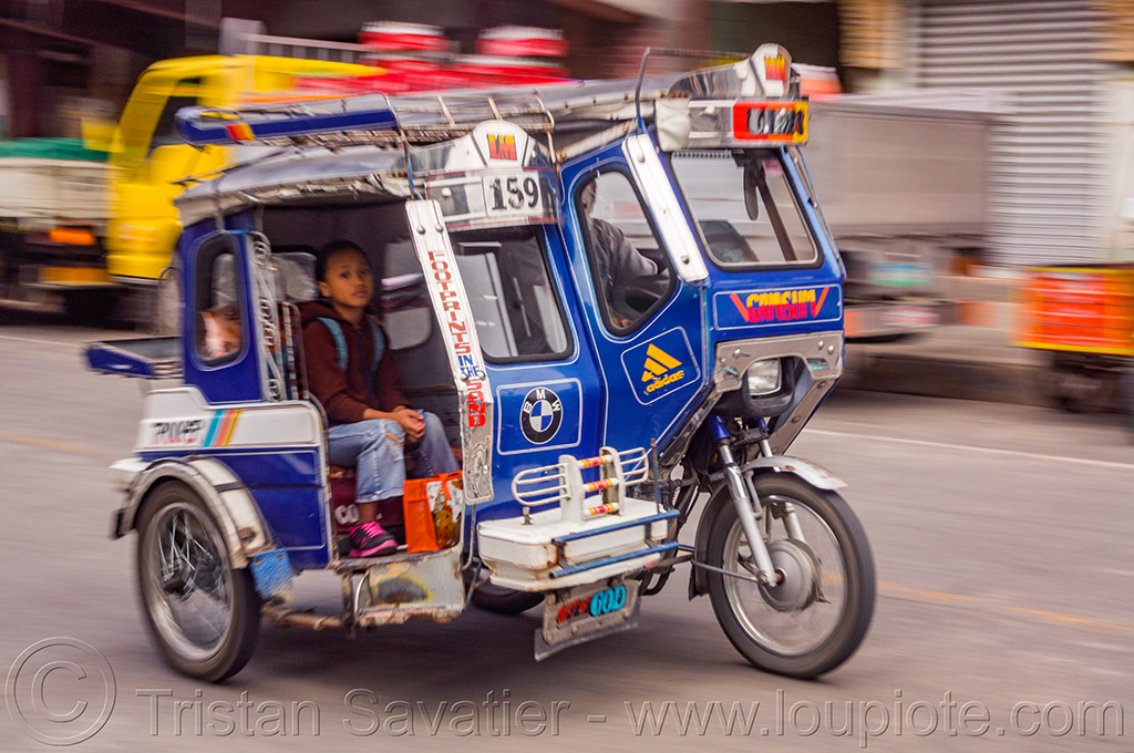 motorized tricycle - bontoc (philippines), bontoc, boy, child, kid, motorbike, motorcycle, motorized tricycle, passenger, philippines, public transportation, sidecar, sitting, street
