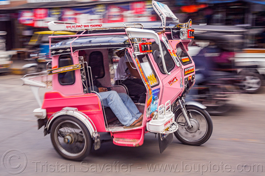 motorized tricycle - bontoc (philippines), bontoc, man, motorbike, motorcycle, motorized tricycle, passenger, philippines, public transportation, sidecar, sitting, street