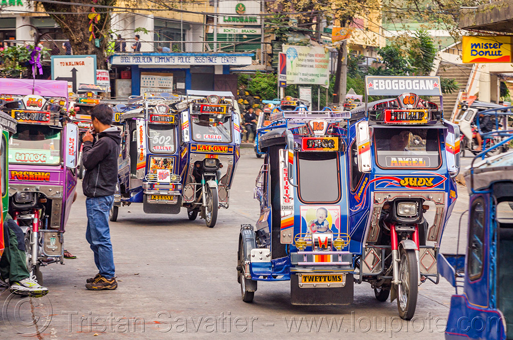 motorized tricycles - bontoc (philippines), bontoc, man, motorbikes, motorcycles, motorized tricycles, pedestrian, philippines, public transportation, sidecar, standing, street