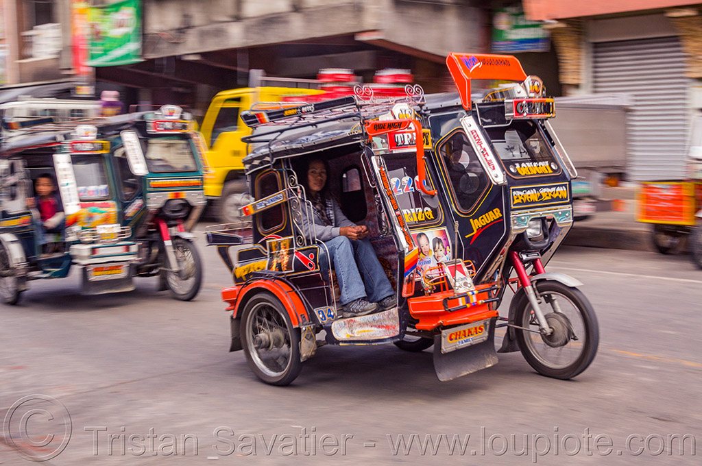 motorized tricycles (philippines), bontoc, colorful, man, motorcycles, motorized tricycle, passenger, philippines, sidecar, sitting