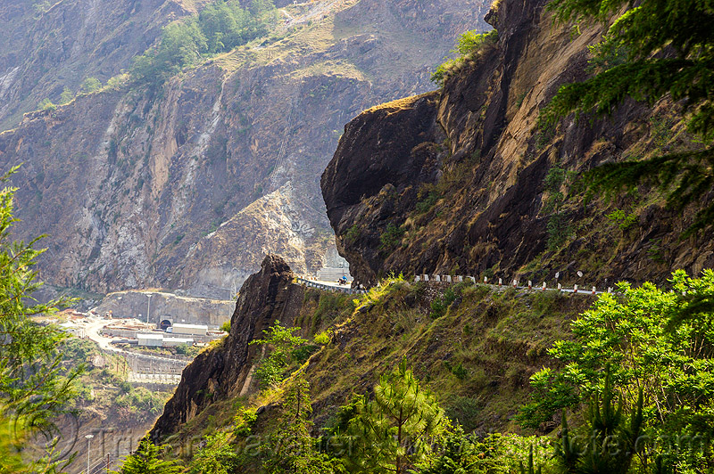 mountain road in rugged alakananda valley (india), adit, alaknanda valley, hydro-electric, motorbike touring, motorcycle touring, mountain road, mountains, overhanging rock, tunnel, vishnu-prayag hydro project