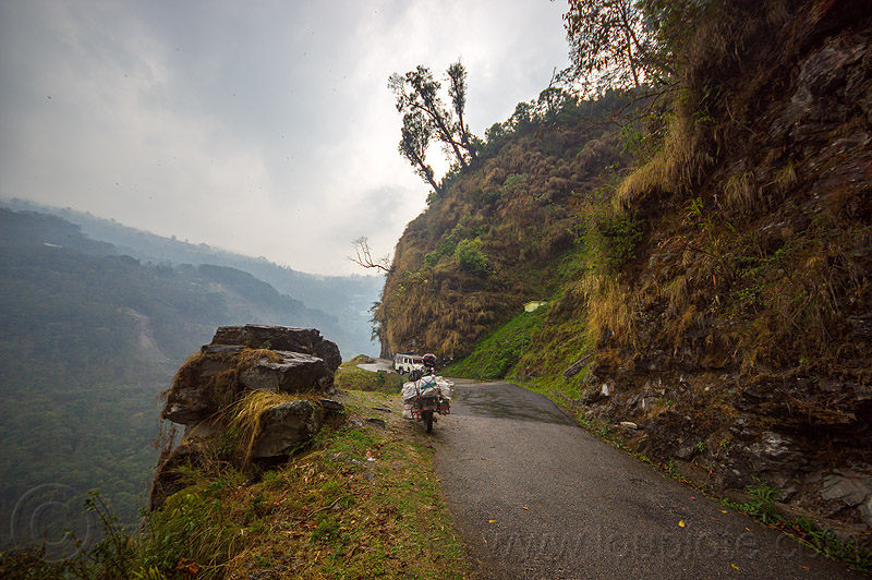 mountain road in sikkim (india), car, cloudy, india, motorcycle, mountains, road, sikkim