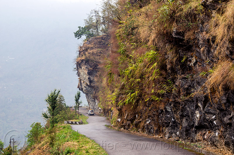 mountain road in sikkim (india), car, cliff, mountains