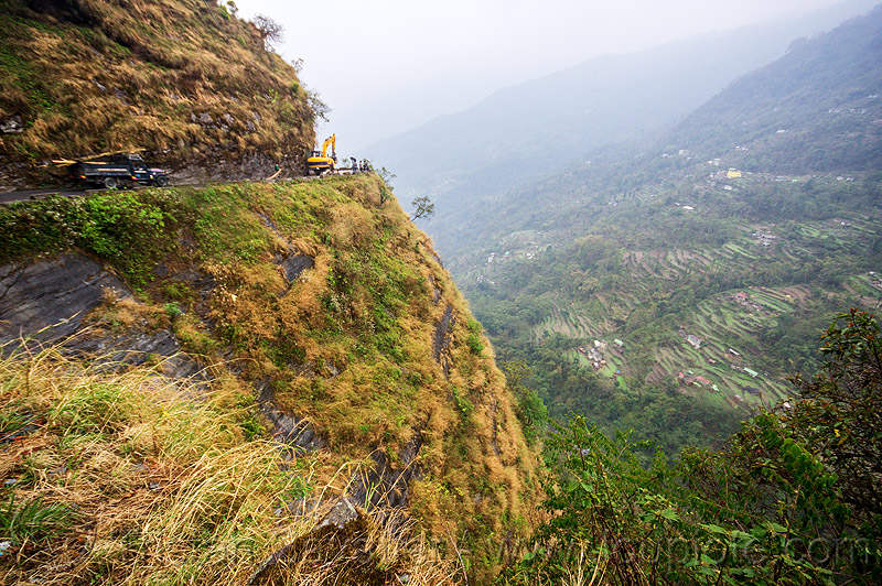 mountain road on cliff - sikkim (india), cliff, excavator, india, mountains, road, sikkim