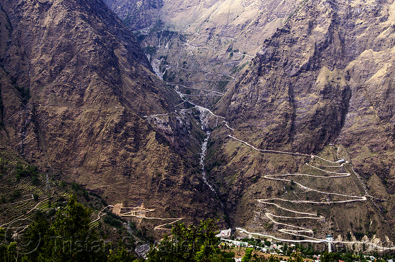 mountain roads with switchbacks (india), mountain road, mountains, switchbacks