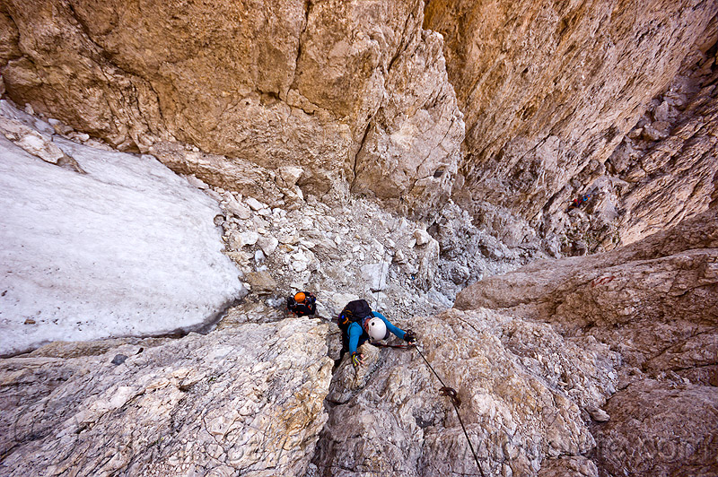 mountaineers on santner via ferrata - dolomites, alps, climbers, climbing helmet, dolomites, dolomiti, ferrata santner, mountain climbing, mountaineer, mountaineering, mountains, old snow, rock climbing, via ferrata del passo santner