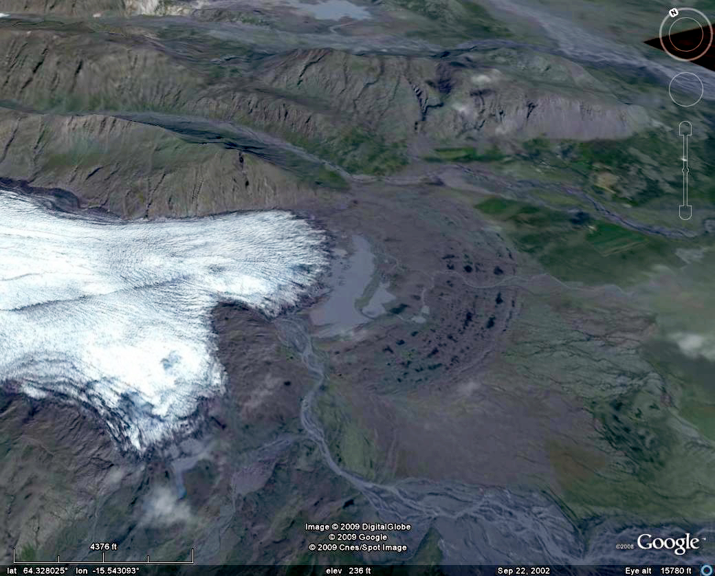 mouth of the flàajökull glacier (iceland), flaajokull, glacier mouth, ice, mountains, satellite photo