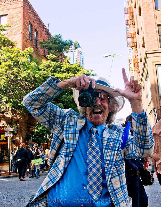 mr privette - blue suit (san francisco), blue costume, camera, hat, how weird festival, jacket, man, photographer, say cheese, tie