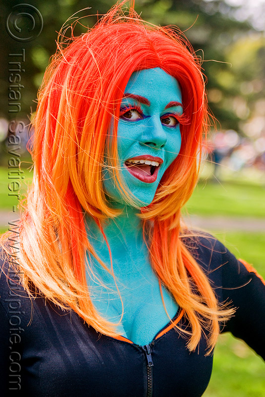 ms monster, bay to breakers, blue, complementary colors, costume, eyelashes extensions, face painting, facepaint, festival, footrace, makeup, ms monster, orange hair, street party, woman