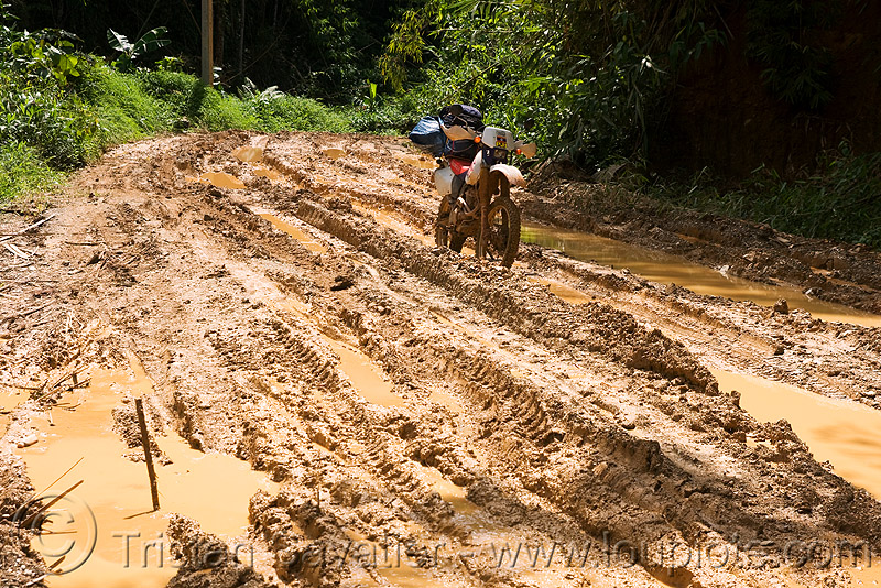 muddy road - ruts - motorbike, 250cc, dirt road, dual-sport, honda motorcycle, honda xr 250, motorbike touring, motorcycle touring, mud ruts, muddy, tracks, unpaved, water