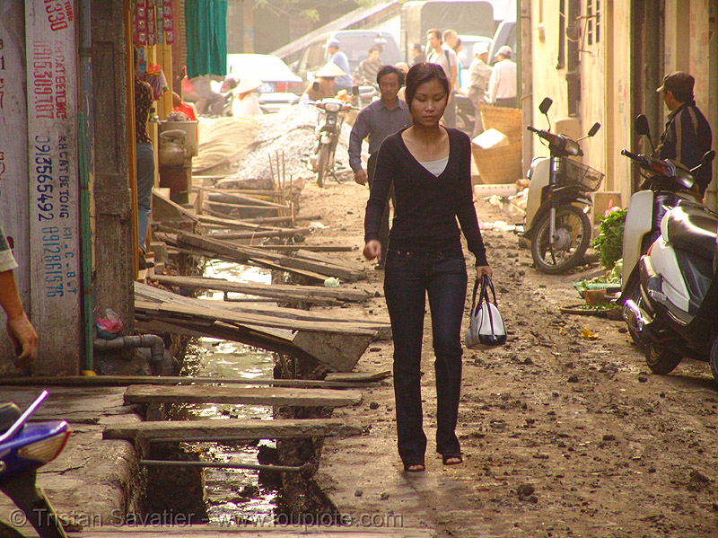 muddy street - open sewage (hanoi) - vietnam, asian woman, groundwork, mud, people, road construction, roadworks
