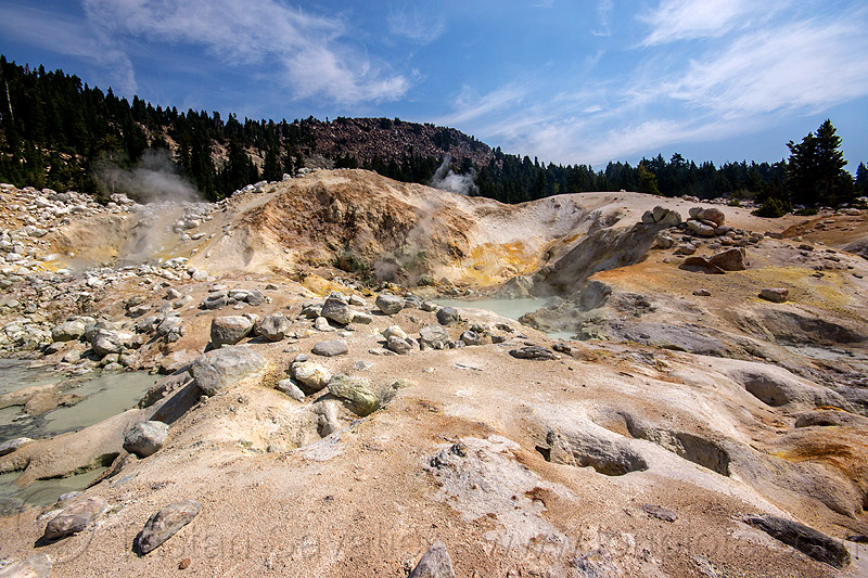 mudpots and hot springs - bumpass hell - lassen volcanic national park, bumpass hell, fumaroles, geothermal, hot springs, lassen volcanic national park, mountain, mudpots, pool, water