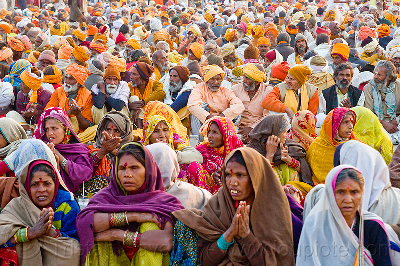 multicolor crowd of hindu pilgrims - kumbh mela 2013 (india), ashram, crowd, hindu, hinduism, holy prasad, kumbha mela, maha kumbh mela, men, pilgrims, women, yatris