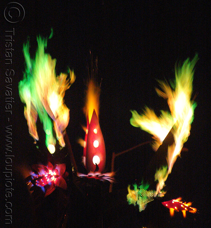 multicolor flames shoot off orion fredericks's thermokraken, fire art, fire arts festival, flames, orion fredericks, the crucible, thermokraken