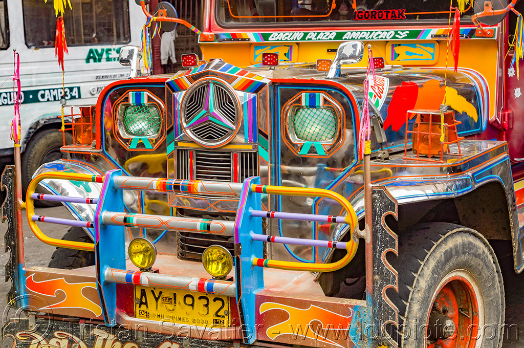 multicolor jeepney - front grill (philippines), baguio, colorful, decorated, front grill, jeepney, painted, philippines, truck