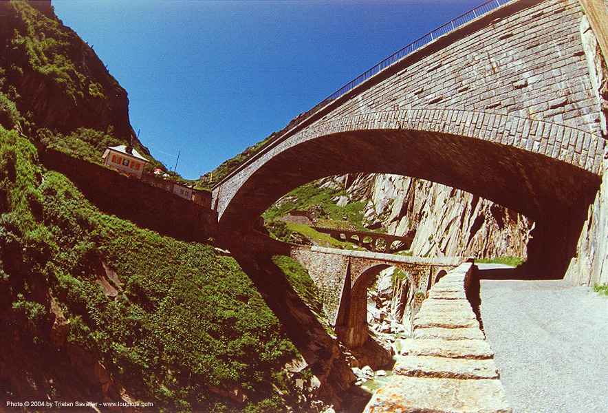 bridges (switzerland), arches, infrastructure, mountain, road, vaults