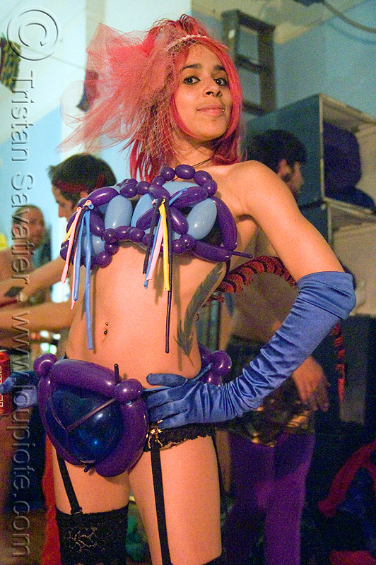 mumu mariane charline with her balloons costume, fashion, feather, feather tattoo, party, party balloons, people, red hair, tattooed, tattoos, underwear, woman