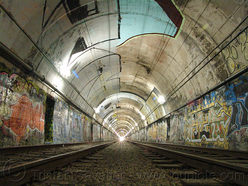 train tunnel, danger, dangerous, duboce tunnel, graffiti, infrastructure, light rail, metro, muni subway, no trespassing, perspective, rail tracks, railroad tracks, rails, railway tracks, san francisco municipal railway, street art, sunset tunnel, train tracks, urban exploration, urbex, vanishing point