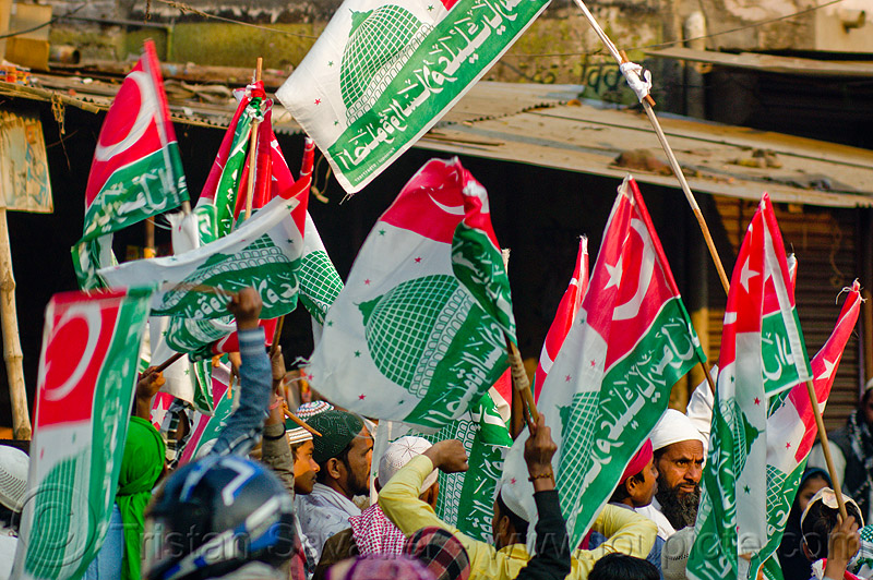 muslim flags with islamic symbols - eid-milad-un-nabi muslim festival (india), crowd, eid e milad un nabi, eid e milād un nabī, flags, india, islam, mawlid, men, muhammad's birthday, muslim festival, muslim parade, muslims, nabi day, prophet's birthday, عید میلاد النبی, ईद मिलाद नबी