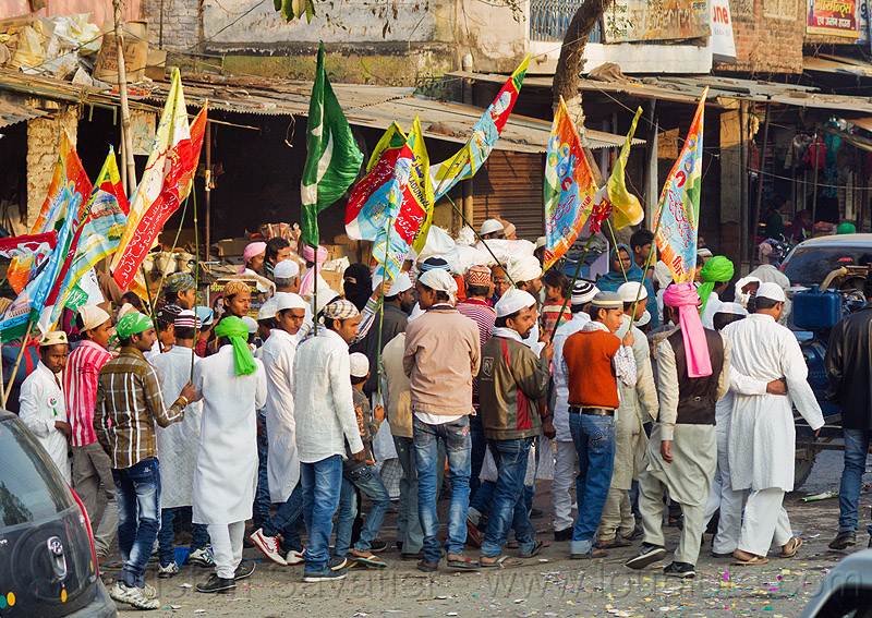 muslim men holding flags at street parade - eid-milad-un-nabi muslim festival (india), crowd, eid-e-milad-un-nabi, eid-e-milād-un-nabī, eid-milad-un-nabi, islam, mawlid, men, milad un-nabi, milad-an-nabi, milād an-nabī, milād un-nabī, mohammed's birthday, muhammad's birthday, muslim festival, muslim parade, muslims, nabi day, prophet's birthday, religion, street, عید میلاد النبی, ईद मिलाद नबी