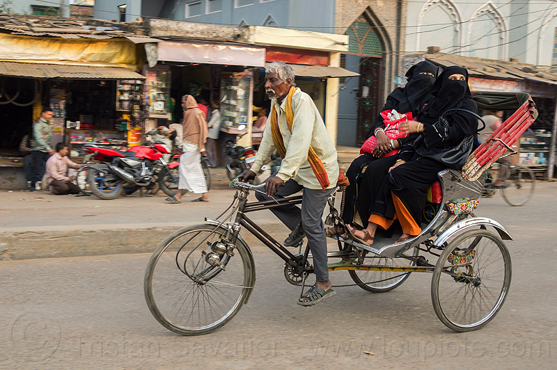 muslim women in niqab on cycle rickshaw (india), cycle rickshaw, india, islam, man, moving, muslim, niqab, varanasi, women
