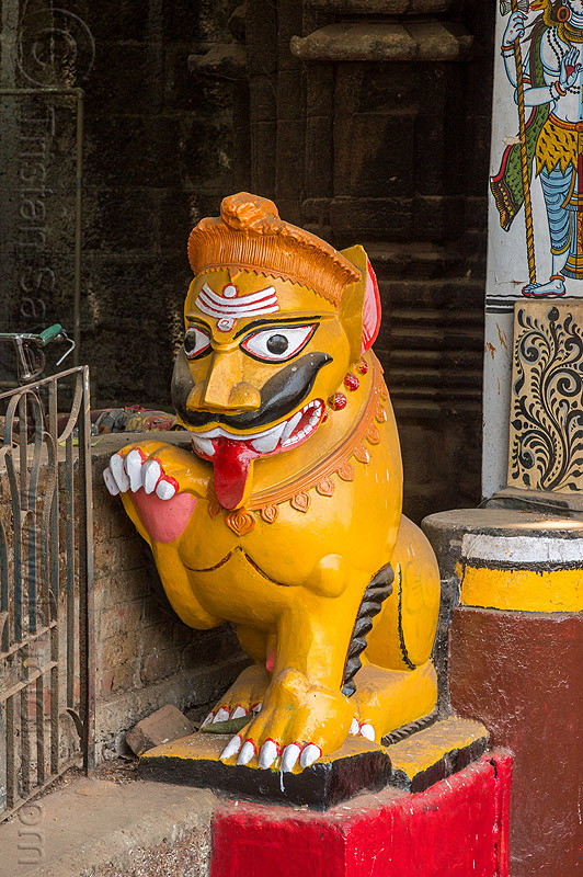 mustachioed stone tiger guarding hindu temple (india), bhubaneswar, hindu temple, hinduism, lingaraj temple, lingaraja temple, moustaches, mustache, painted, sculpture, statue, sticking out tongue, sticking tongue out, stone tiger, tilak, tilaka, yellow