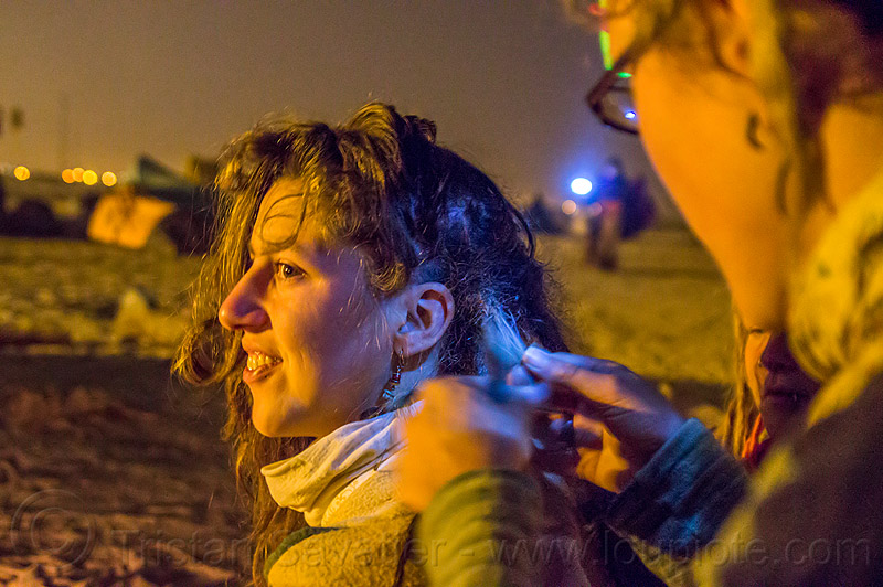 my friend jasmin at kumbh mela 2013, hippies, kumbha mela, maha kumbh mela, night, rainbow camp, woman